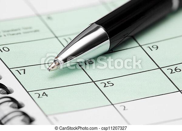 Pen  on Calendar Page - csp11207327