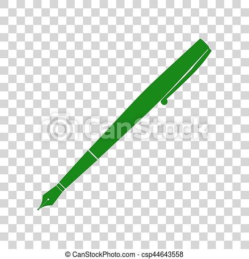 Pen Sign Illustration Dark Green Icon On Transparent Background