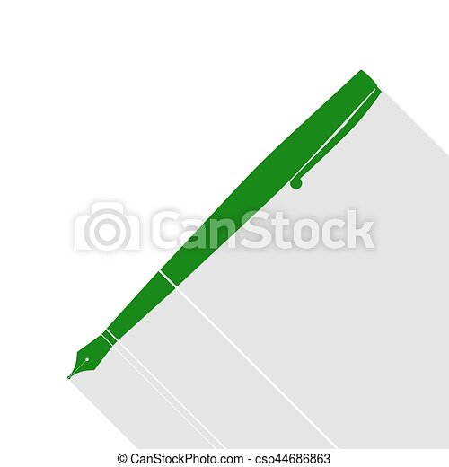 Pen sign illustration. Green icon with flat style shadow path. - csp44686863