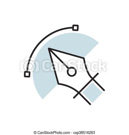 pen tool icon semicircle design - csp38516263