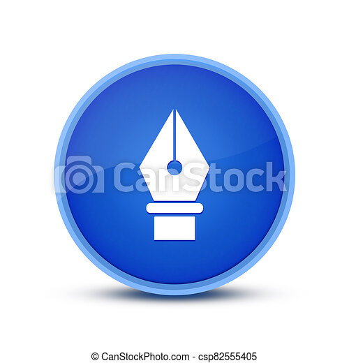 Pen-tools icon isolated on glassy blue round button abstract - csp82555405