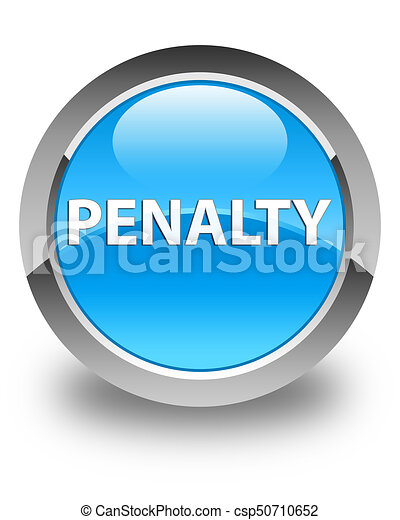 Penalty glossy cyan blue round button - csp50710652