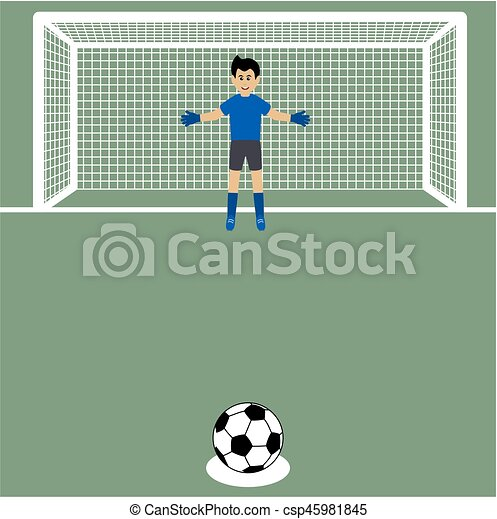 penalty shot with goalkeeper at soccer - csp45981845