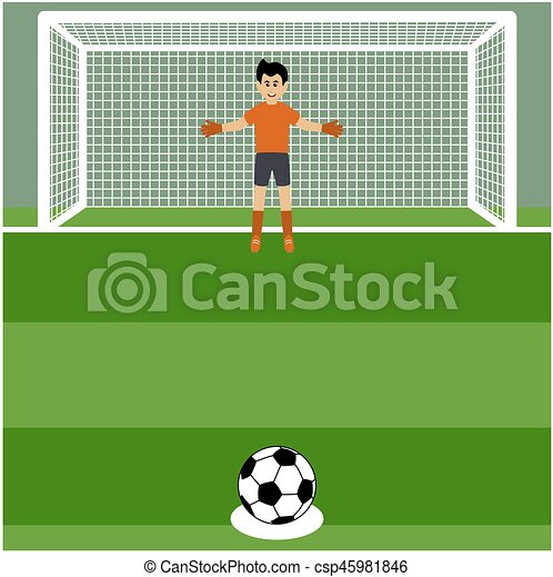 penalty shot with goalkeeper at soccer - csp45981846