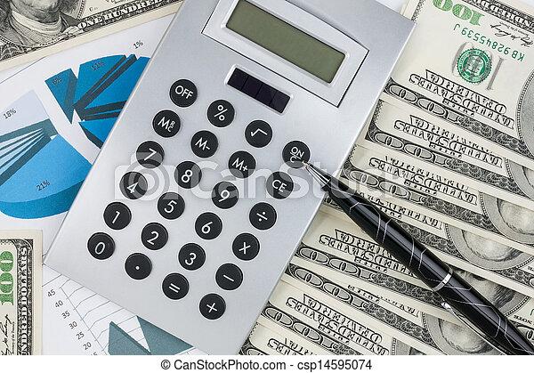Pen,calculator and dollars on chart closeup. - csp14595074