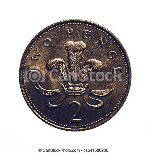 Pence, vendange, monnaie, deux. Royaume, regarder, livre, vendange, sur, -,  isolé, pence, monnaie, uni, fond, 2, blanc,