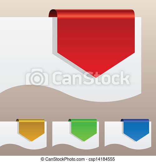 penchant, étiquettes, edge., escompte, papier, rouges, autour de - csp14184555