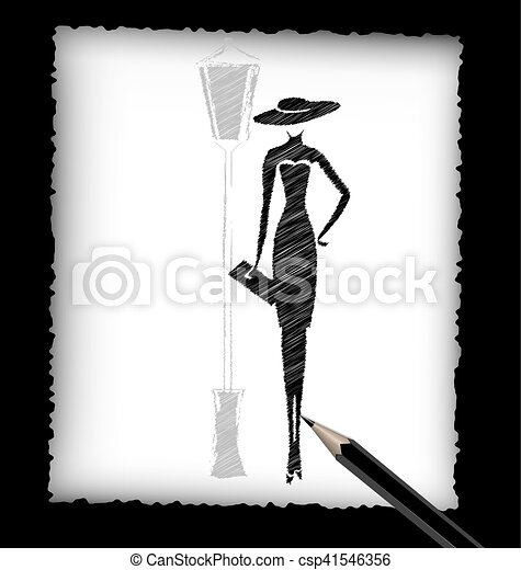 Pencil And The Image Of Lady