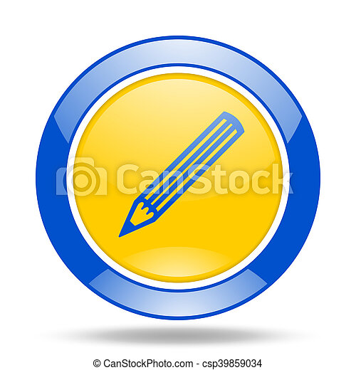 pencil blue and yellow web glossy round icon - csp39859034
