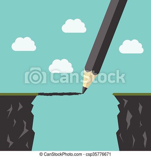 Pencil drawing a bridge - csp35776671