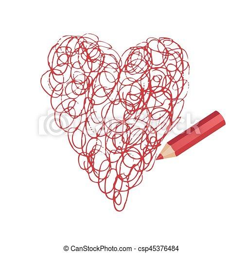 Pencil Drawing Beautiful Heart