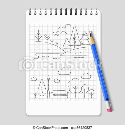 Pencil drawing nature landscape outline vector