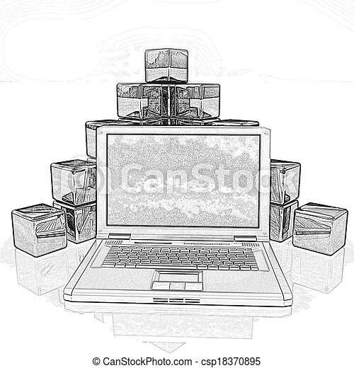 pencil drawing of a cubic diagram structure and laptop on a white
