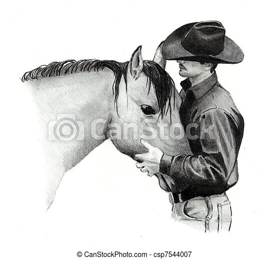 Pencil Drawing Of Cowboy And Horse