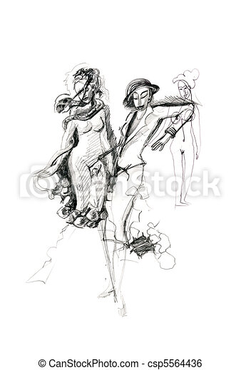 Pencil drawing of three female figures, drawn by a girl. - csp5564436