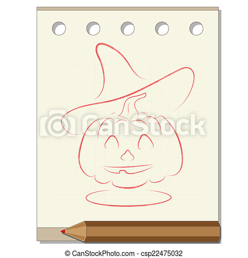pencil drawing on the theme of Halloween - csp22475032