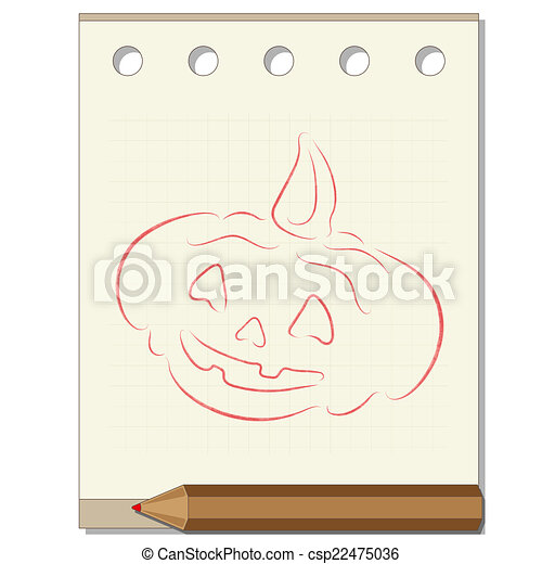 pencil drawing on the theme of Halloween - csp22475036