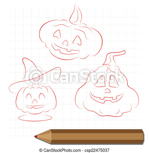 pencil drawing on the theme of Halloween - csp22475037