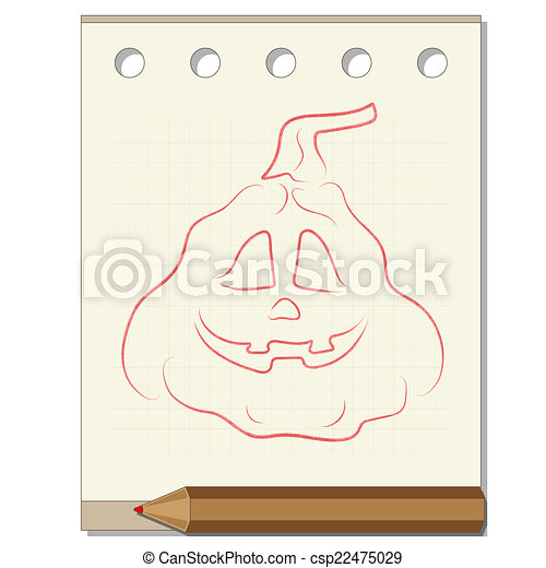 pencil drawing on the theme of Halloween - csp22475029
