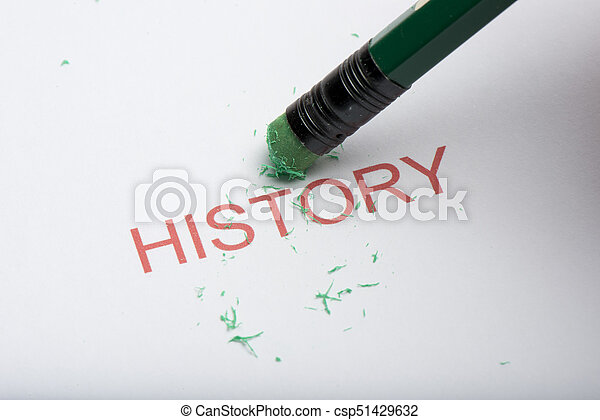 Pencil Erasing the Word 'History' on Paper - csp51429632