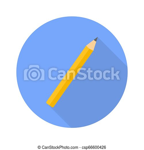 Pencil flat icon with shadow for web design - csp66600426