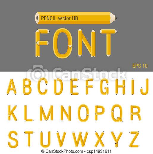 Pencil Font vector. Creative type design. Education school abc. - csp14931611