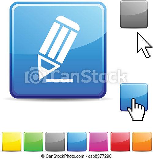 Pencil glossy button. - csp8377290
