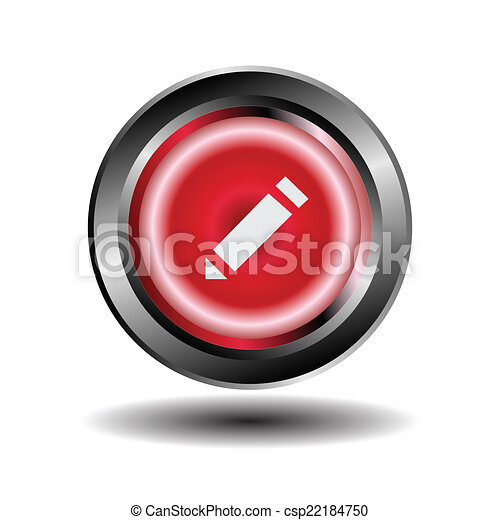 Pencil glossy round vector buttons - csp22184750
