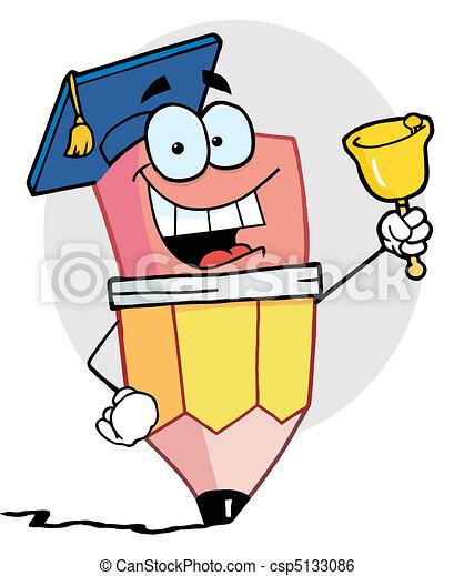 Pencil Graduate Ringing A Bell  - csp5133086