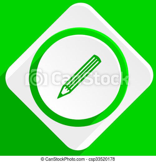 pencil green flat icon - csp33520178