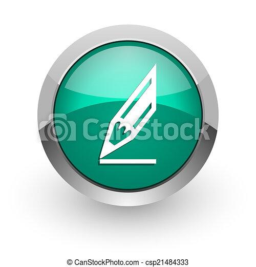 pencil green glossy web icon - csp21484333