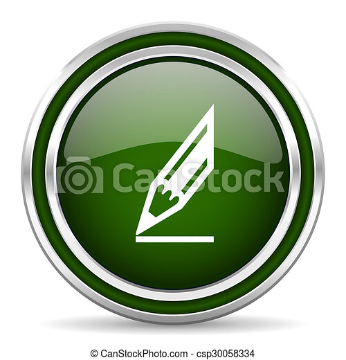 pencil green glossy web icon - csp30058334