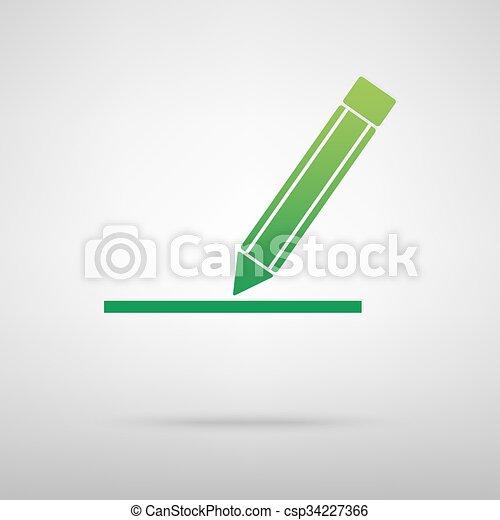 Pencil green icon - csp34227366