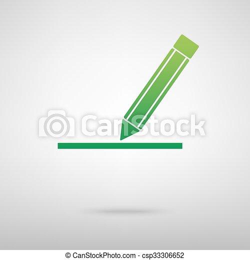 Pencil. Green icon - csp33306652