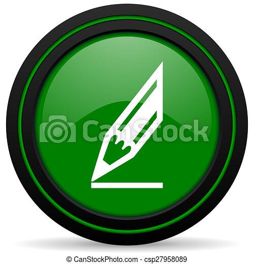pencil green icon draw sign - csp27958089