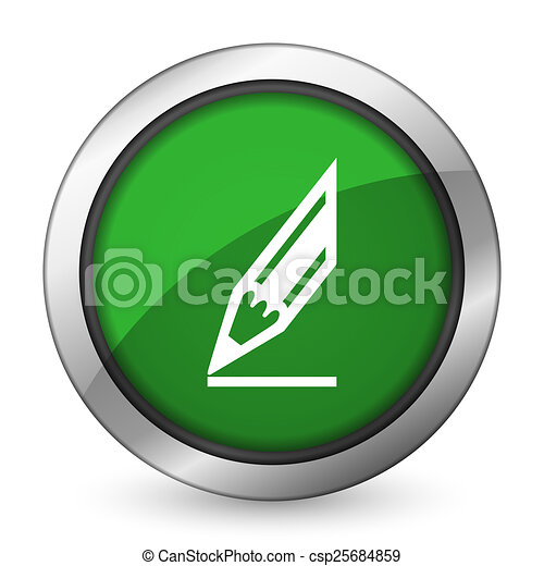 pencil green icon draw sign - csp25684859