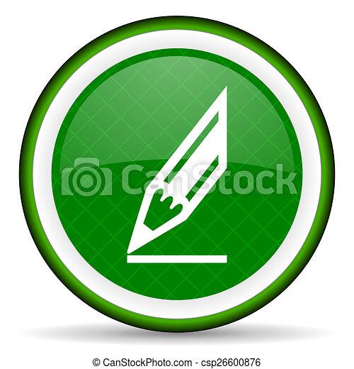 pencil green icon draw sign - csp26600876