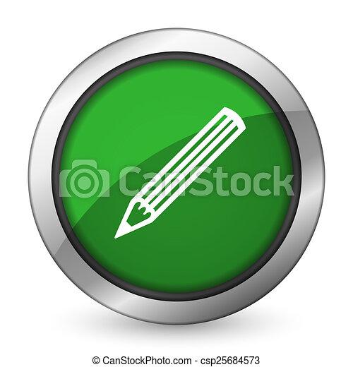 pencil green icon - csp25684573