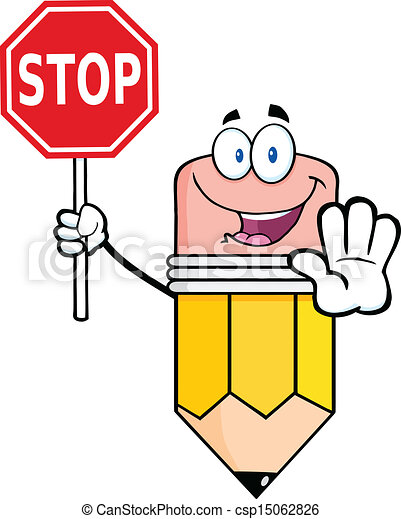 pencil holding a stop sign pencil cartoon mascot character rh canstockphoto com clip art stop sign free clipart hand stop sign