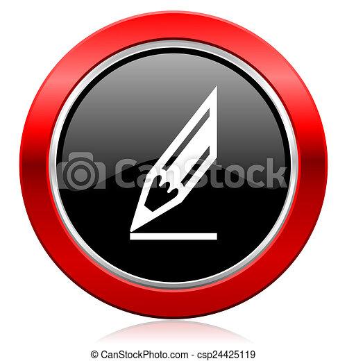 pencil icon draw sign - csp24425119