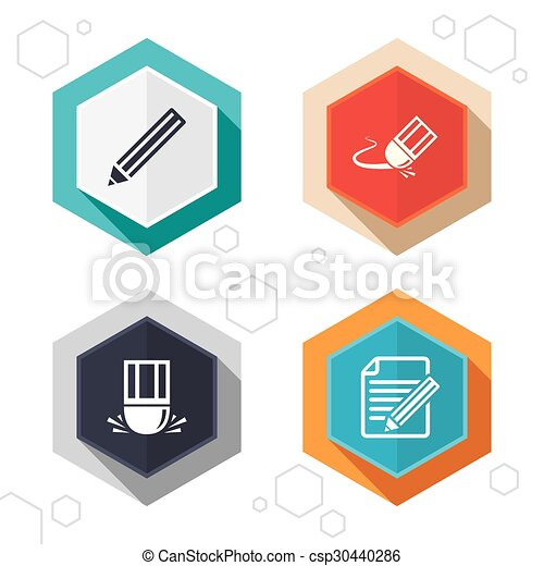 Pencil icon  Edit document file  Eraser sign
