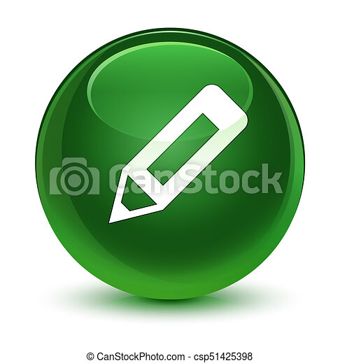 Pencil icon glassy soft green round button - csp51425398