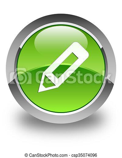 Pencil icon glossy green round button - csp35074096