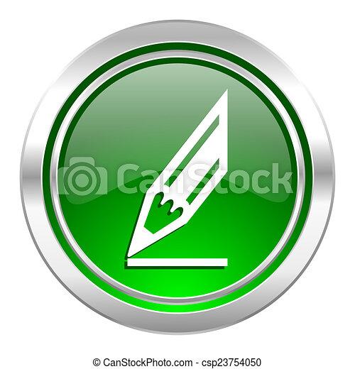 pencil icon, green button, draw sign - csp23754050