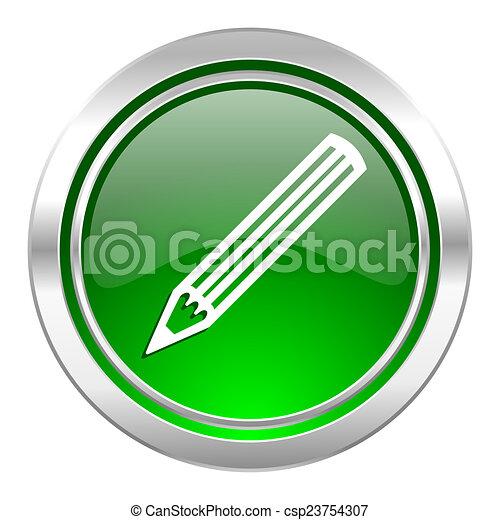 pencil icon, green button - csp23754307