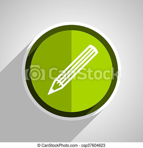 pencil icon, green circle flat design internet button, web and mobile app illustration - csp37604623
