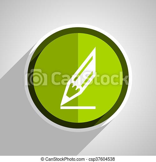 pencil icon, green circle flat design internet button, web and mobile app illustration - csp37604538