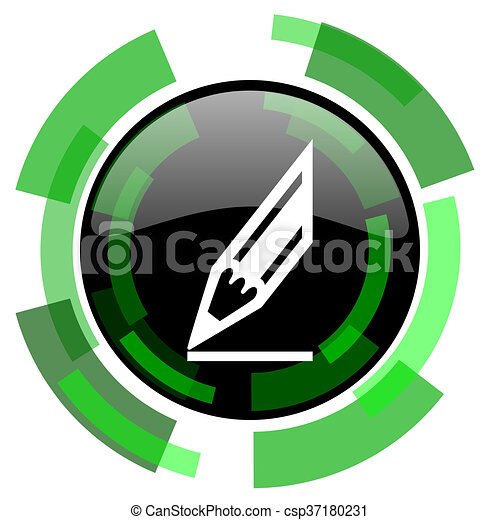 pencil icon, green modern design isolated button, web and mobile app design illustration - csp37180231