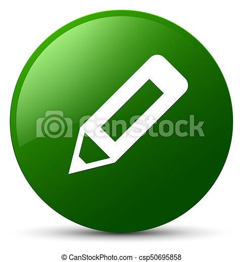 Pencil icon green round button - csp50695858