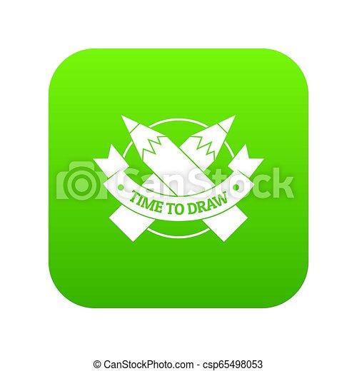 Pencil icon green - csp65498053
